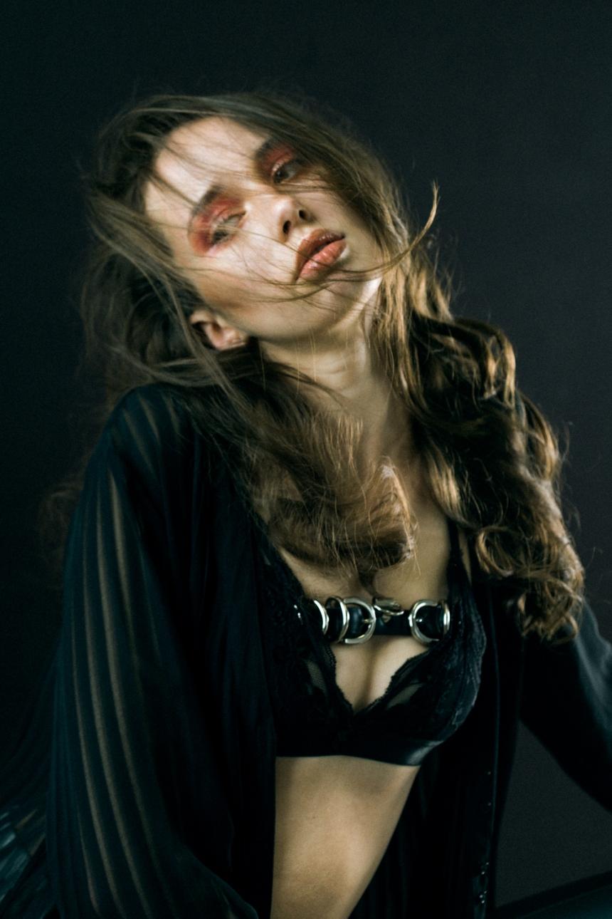 Belt: Creepy Yeha; Bra & Robe: Stylist's own